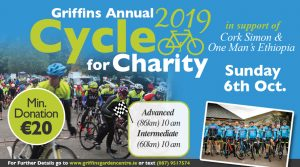 Griffins 7th Annual Cycle in aid of Cork Simon Community and One Man's Ethiopia